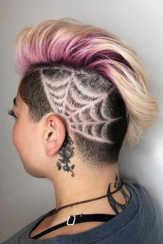 Spiderweb Undercut Design #undercutdesigns #haicuts #bobhaircut