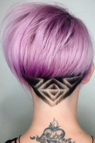 Edgy Triangular Nape Design #undercutdesigns #haicuts #pixiecut