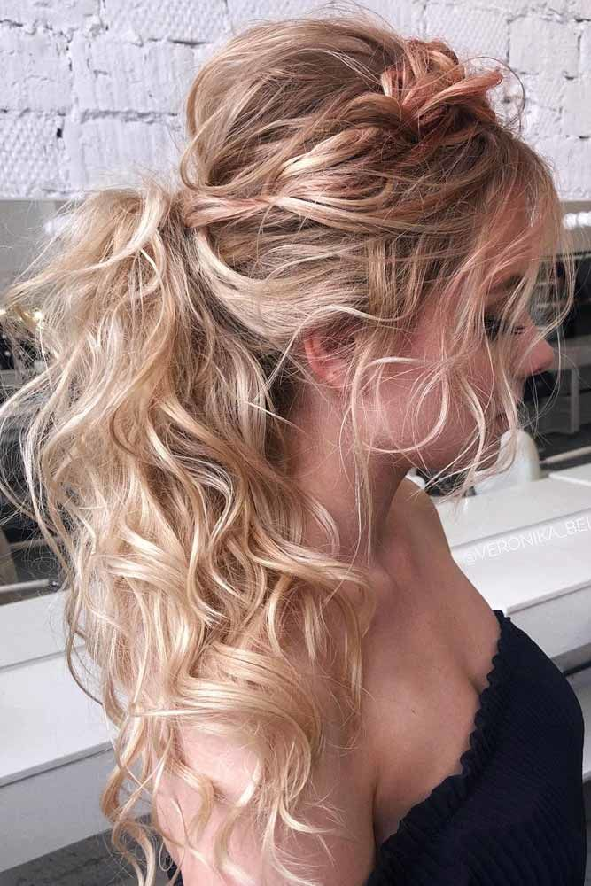 Ponytail With Messy Side Braid #wavyhair #hairtypes