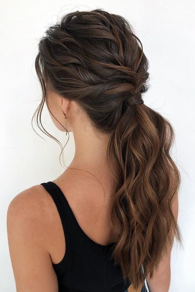 Elegant Twisted Ponytail Hairstyle #wavyhair #hairtypes