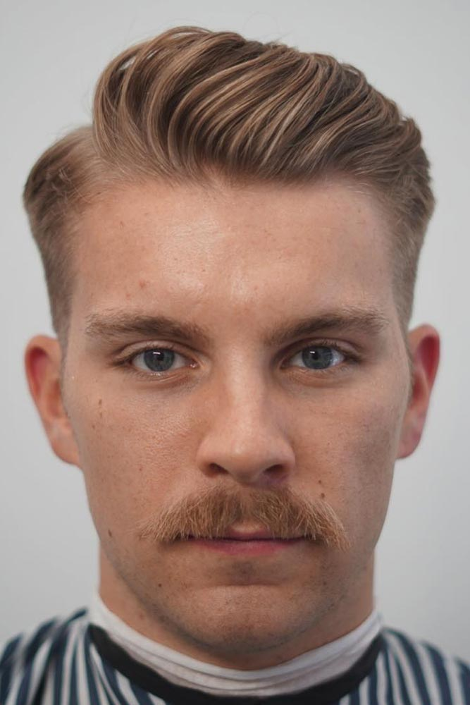 Ivy League With Deep Side Part #sidepart #mustachestyles #ivyleaguehaircut