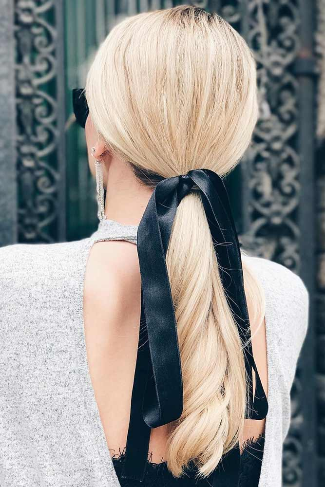 Classic Low Pony With A Bow #ponytail