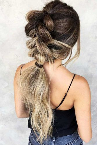 Bubble Braid Into Low Ponytail #ponytail #braids