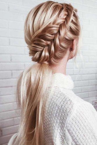 Dutch Waterfall Braid Into Pony #ponytail #braids