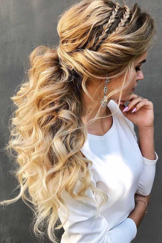 Low Pony With Double Headband Braids #ponytail #braids