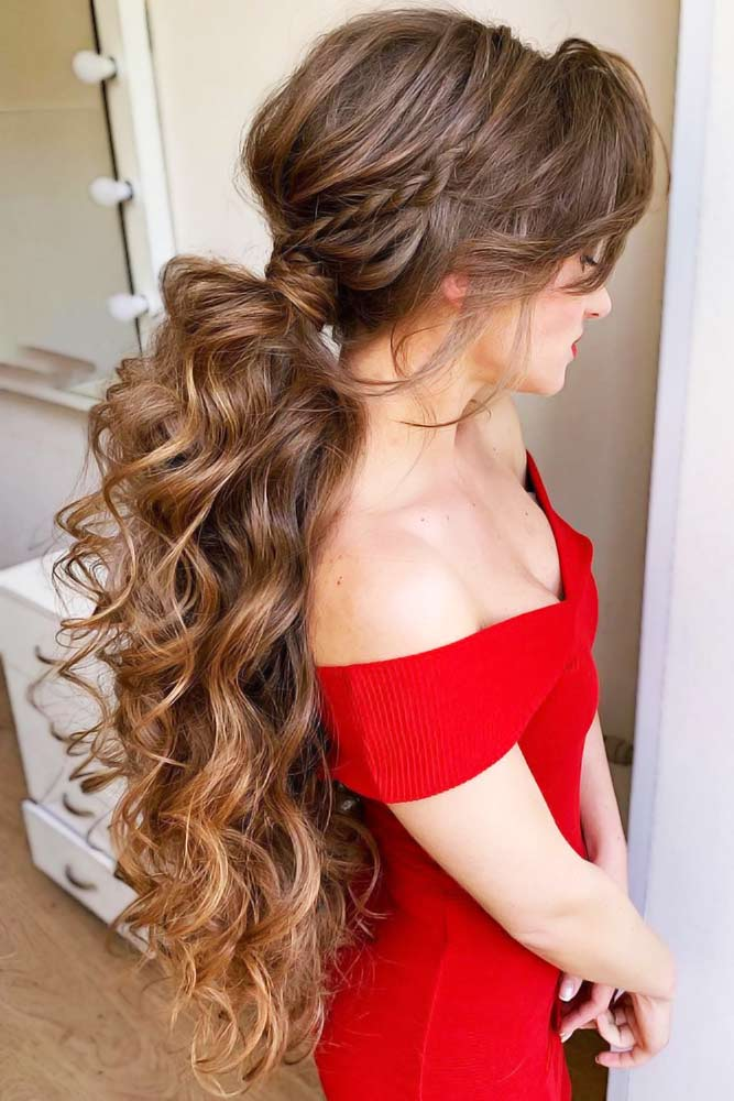 Braided Pony With Long Bangs #lowponytails #ponytails #braids
