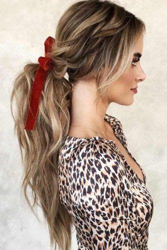 Low Pony With Side Messy Braid #ponytail #braids