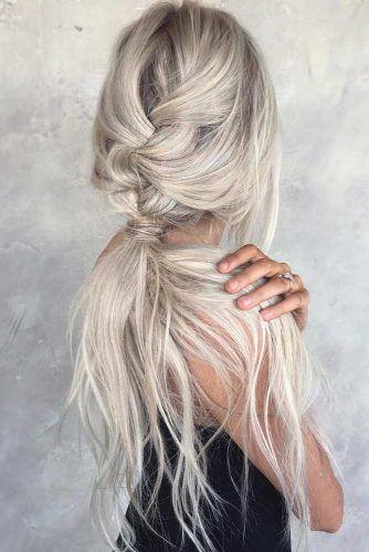 Messy French Braid Into Low Ponytail #ponytail #braid