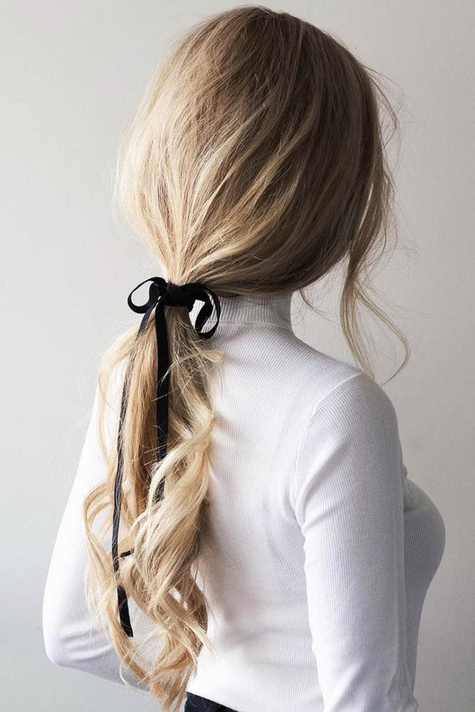 Simple Pony With Ribbon #updo #ponytail