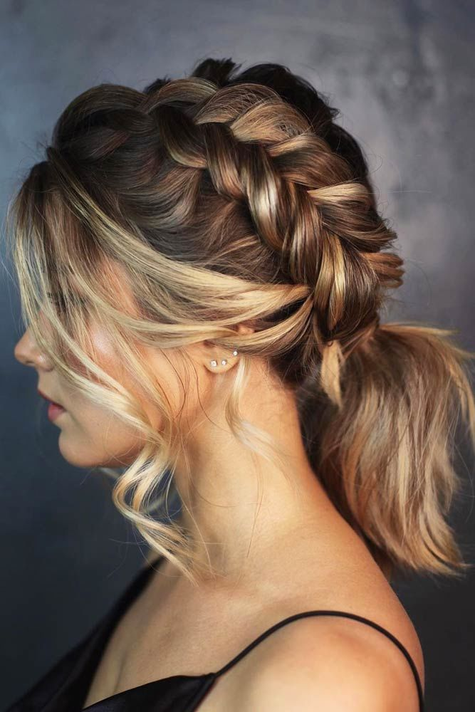 Side Braid Into Ponytail For Lob #lowponytails #ponytails #braids
