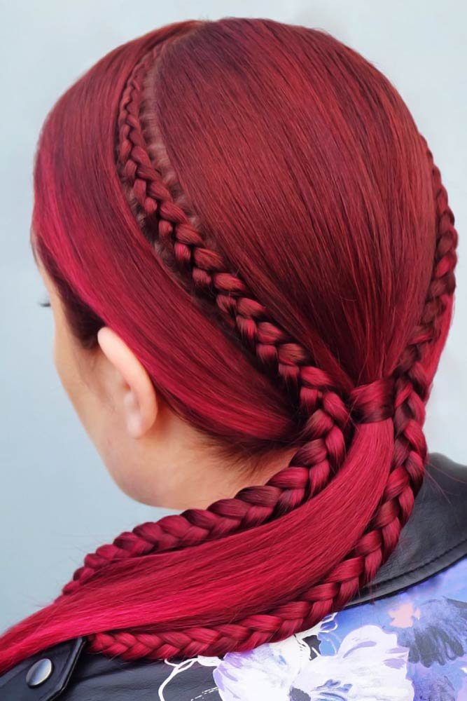 Double Side Braids #lowponytails #ponytails #braids