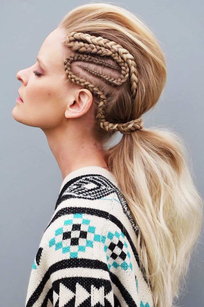 Side Designed Braid #lowponytails #ponytails #braids