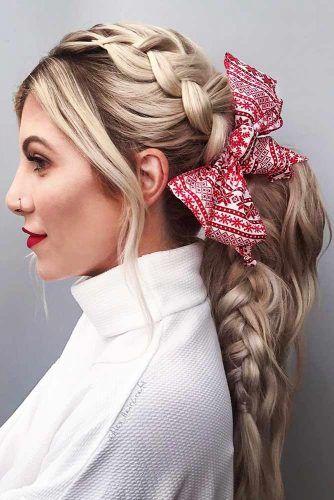 Low Pony With Side Dutch Braid #ponytail #braids