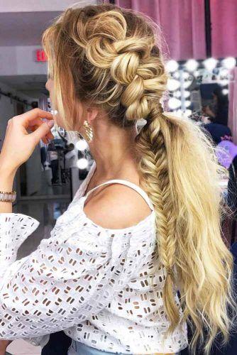 Side Dutch Into Fishtail Braid #lowponytails #ponytails #braids