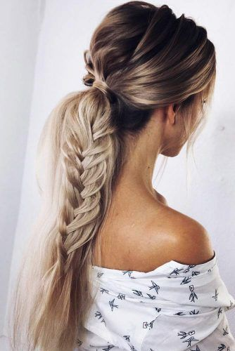 Low Ponytail With Fishtail Braid #ponytail #braids