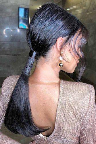 Sleek Low Pony With Long Bang #ponytail #updo #bangs