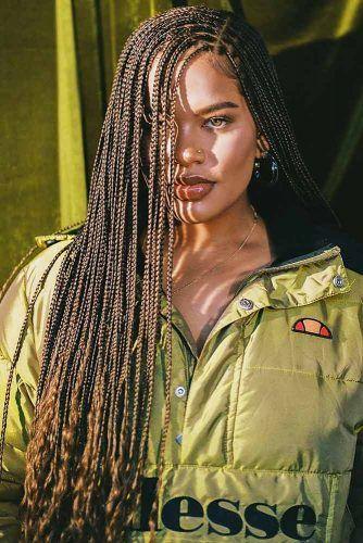 Micro Braids With Side Part #braids #naturalhair