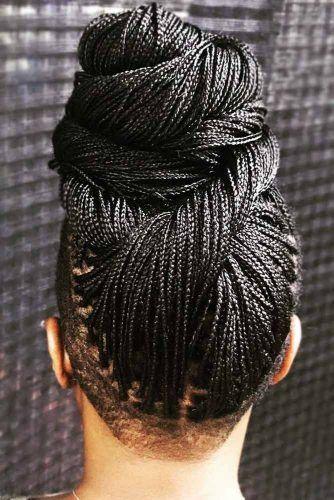 Updo Micro Braids With Undercut #braids #updo #undercut