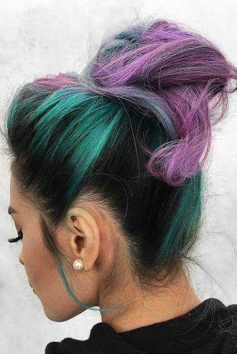 Teal Accents On Black Hair With Purple #tealhair #purplehair