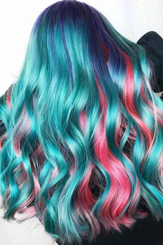 Blue Roots And Hidden Pink #tealhair #pinkhair