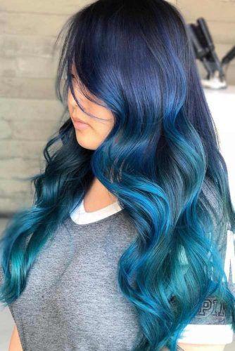 Brunette Blue With Hidden Teal #tealhair #bluehair #brunette #ombre