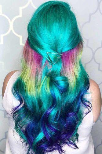 Teal Rainbow #tealhair #rainbowhair