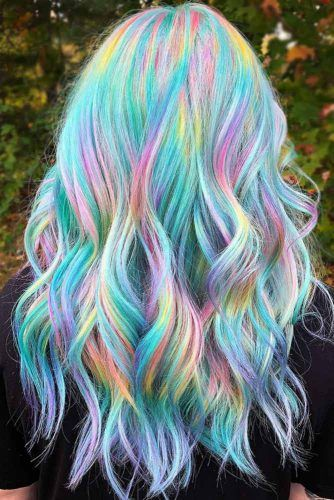 Holographic With Light Teal #tealhair #holographichair