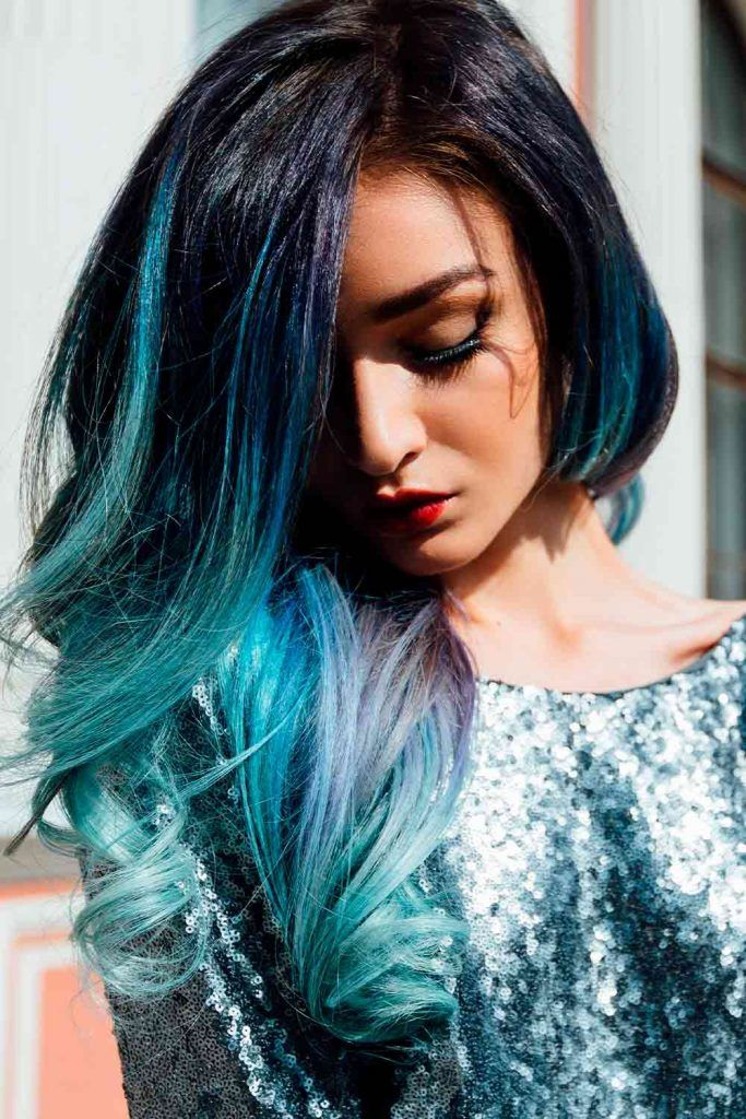 Teal Accents On Black Hair With Purple