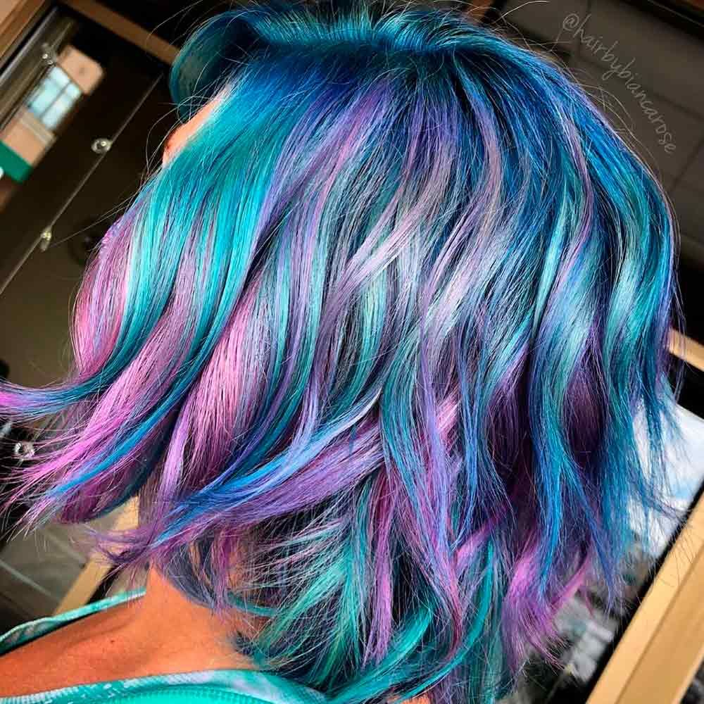 Purple With Teal Strands