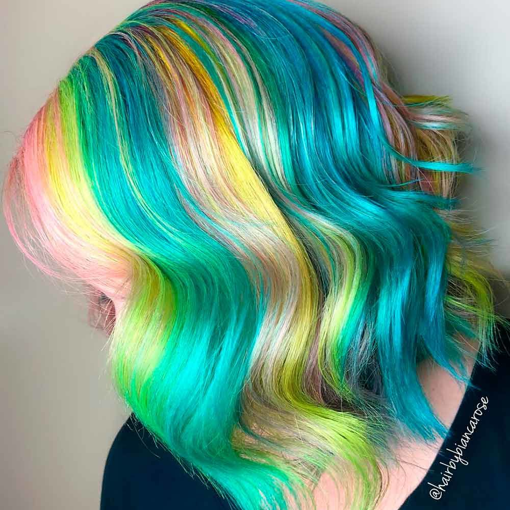 Teal Rainbow Hair
