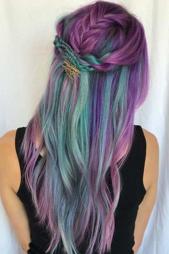 Purple With Teal Strands #tealhair