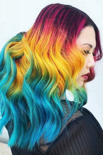 Yellow With Teal And Pink #tealhair #pinkhair #brunette