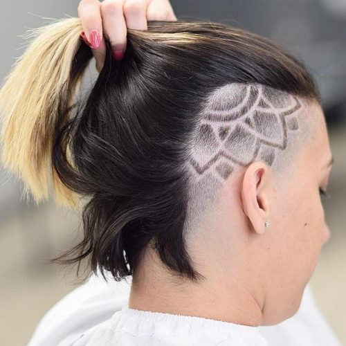 Flower Design For Straight Bob #undercutbob #haircuts #undercut #bobhaircut