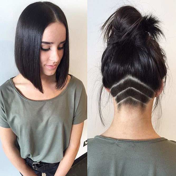 High Bun With Nape Undercut #undercutbob #haircuts #undercut #bobhaircut