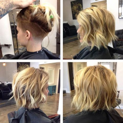 Messy Layered Undercut Bob With Waves #undercutbob #haircuts #undercut #bobhaircut
