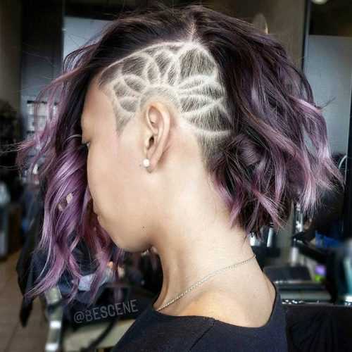 Side Undercut Design For Medium Wavy Bob #undercutbob #haircuts #undercut #bobhaircut