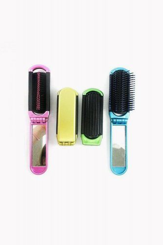 2 Folding Hair Brush With Mirror Compact Pocket #hairbrush #hairproducts