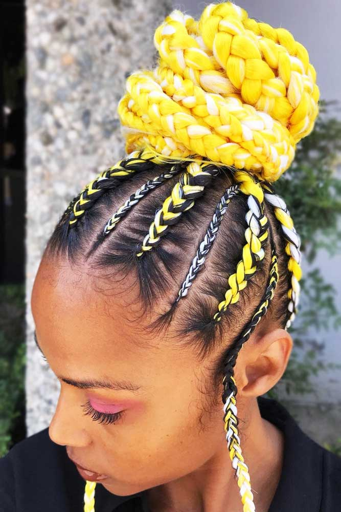 Flamboyant Cornrow Updo Style #braids #updo #naturalhair