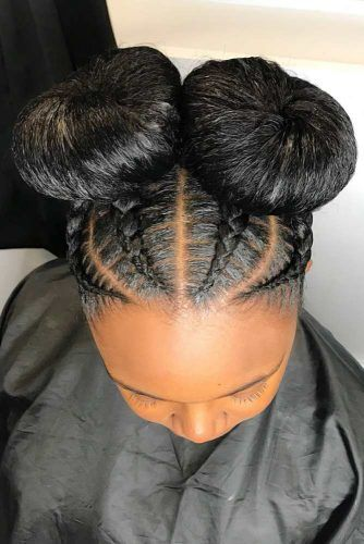 Thick Braids Into Space Buns #braids #naturalhair