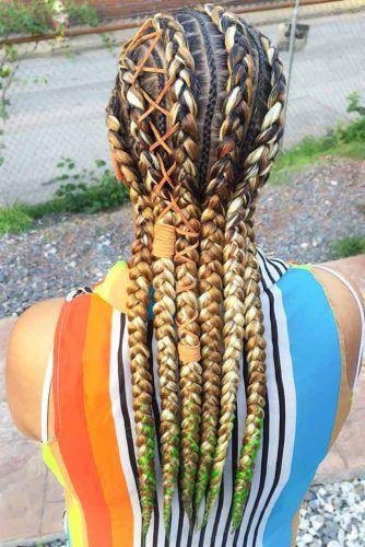 Crochet Braids With Blonde Accent #braids #naturalhair
