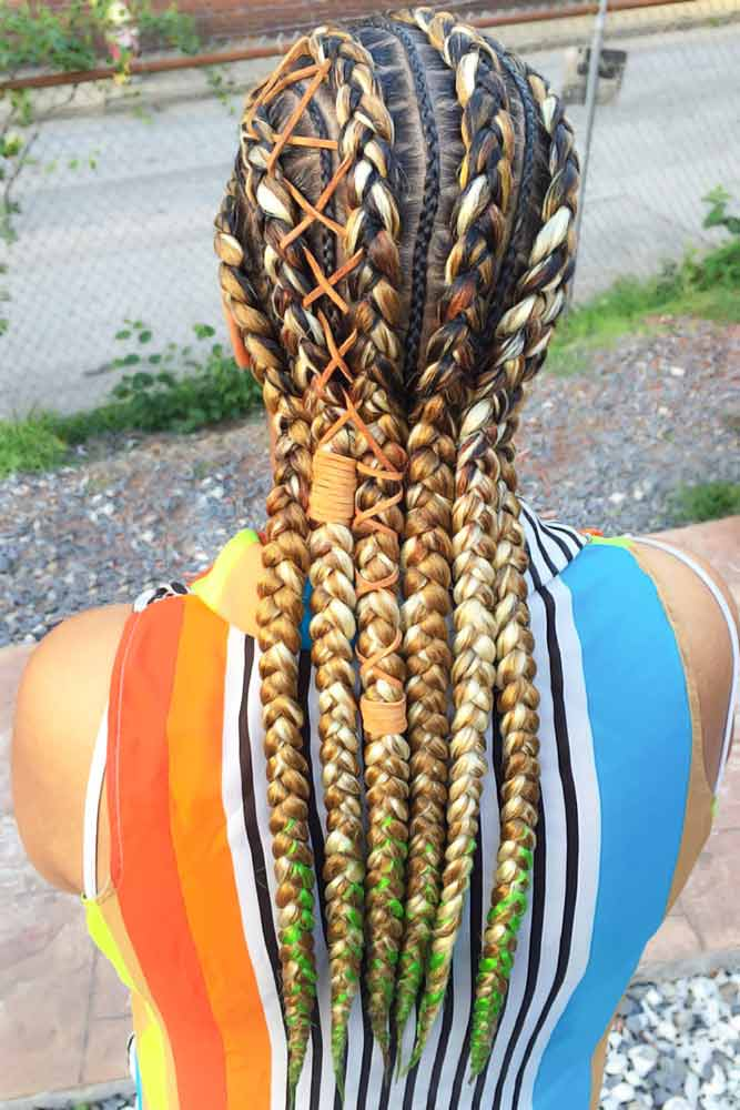 Crochet Braids With Blonde Accent #braids #naturalhair