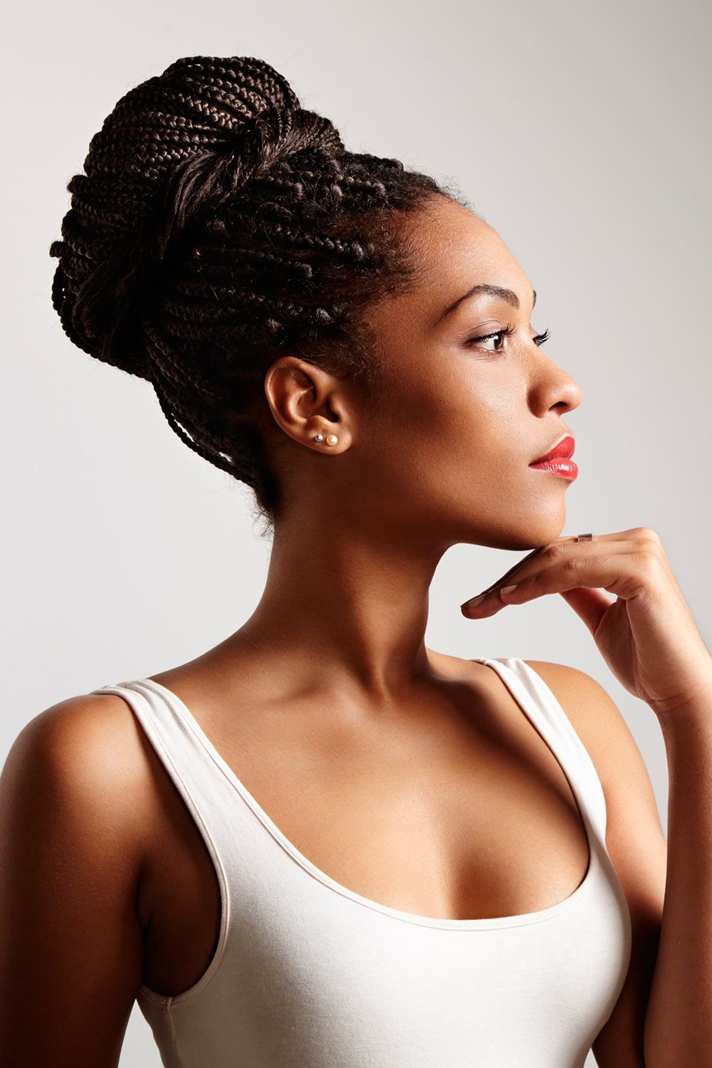 Delicate Micro Box Braids Into High Bun