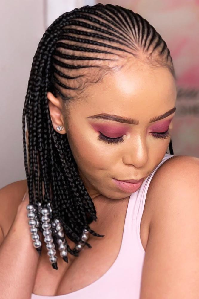 Neat Braids With Pearls #braids #naturalhair