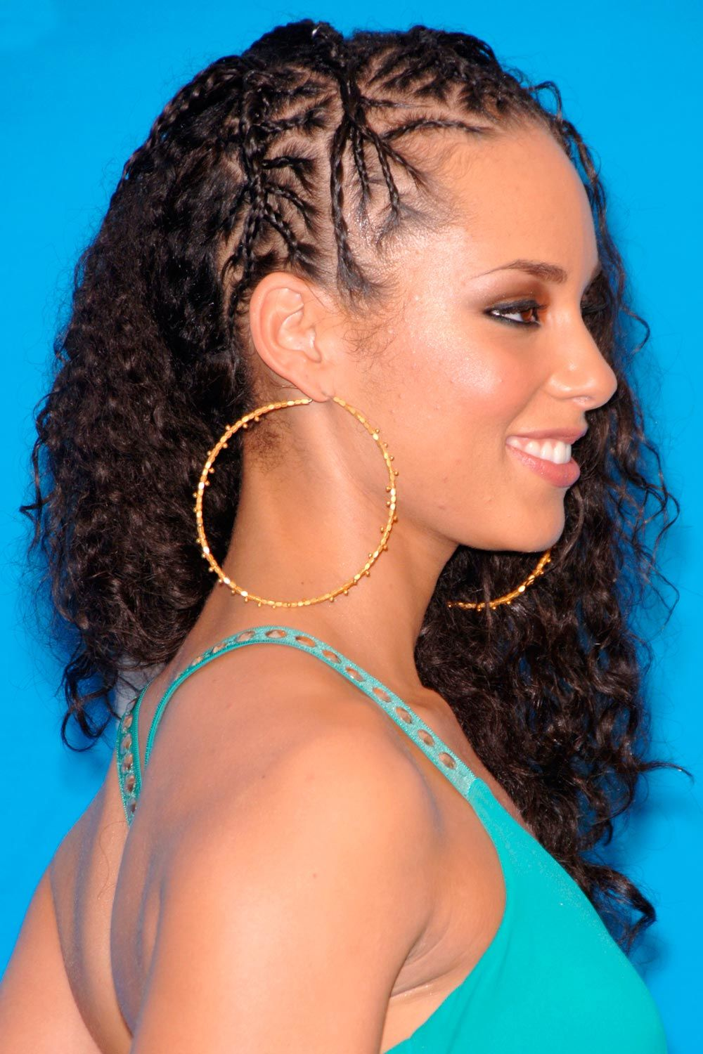 Side Micro Braids With Long Curly Hair