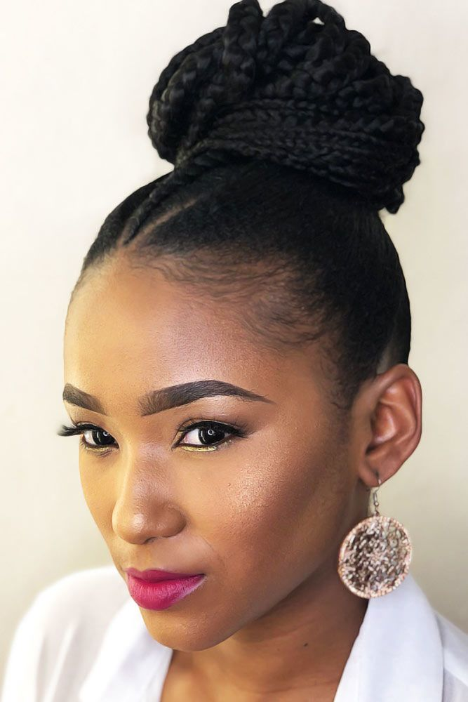 Small Faux Hawk Braid Into Bun #braids #naturalhair