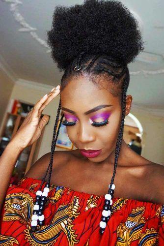 Fulani Braids With Afro Hair #braids #updo