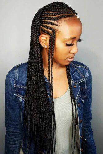 Center Parted Fulani Braids With A Forehead Braid #fulanibraids #braids