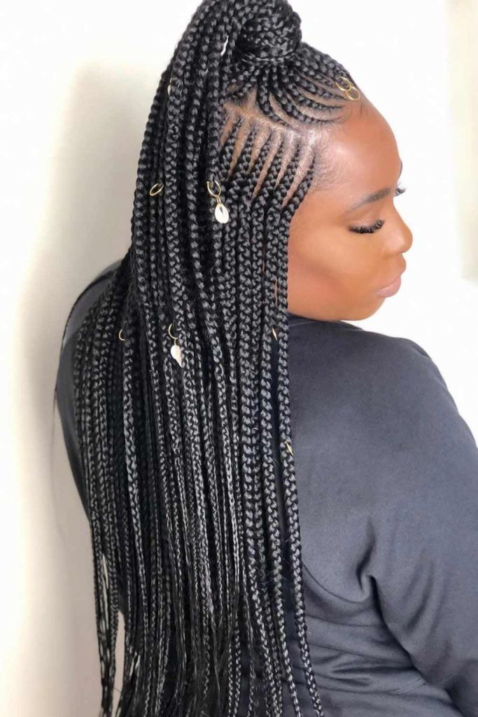 Long Half-Up Fulani Braids #braids #fulanibraids