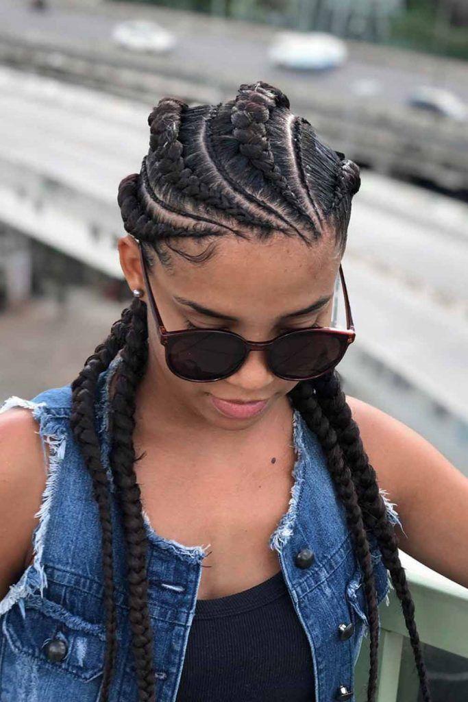Jumbo And Micro Wheel-Patterned Braids #braidedhair #hairstyles