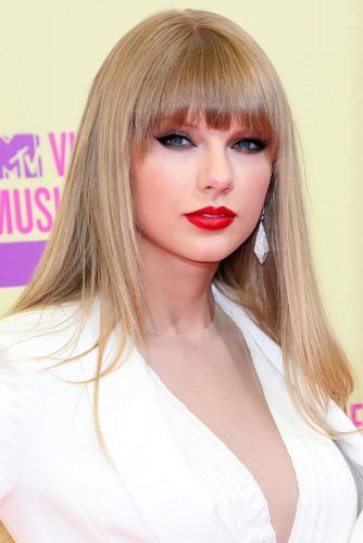 Long Straight Styling With Arched Bang #bangs